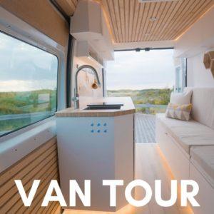 VAN TOUR | MINIMAL, MODERN OPEN CONCEPT CAMPER Van For Full-time Van life | PROMASTER STEALTH CAMPER